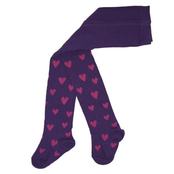 Image of Juliet Tights - Purple with pink hearts