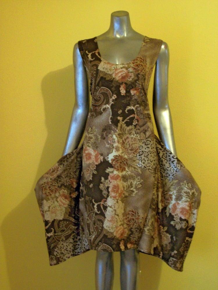 Image of Slub Print Mini Dress x Side-Pockets