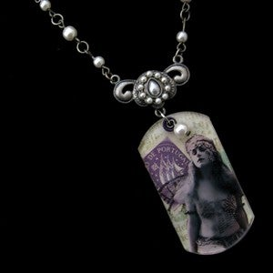 "Image of ""Imagine"" Original Dog Tag Collage Necklace"