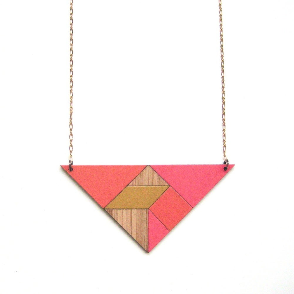 Image of Tangram necklace | Triangle | Warm neon tones