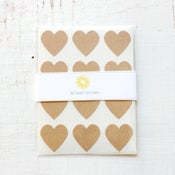 Image of 36 Kraft Heart Stickers