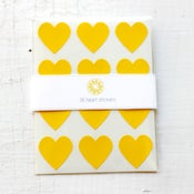 Image of 36 Yellow Heart Stickers