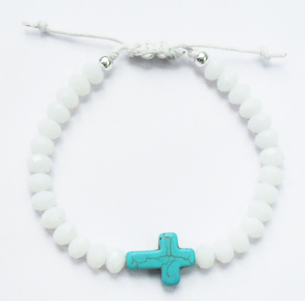 Image of Precious White Cross Charm Bracelet