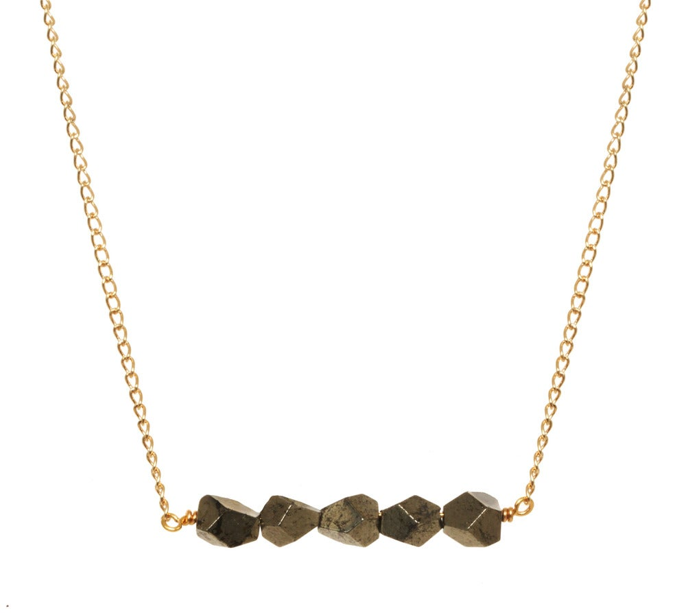 Image of FACETED PYRITE CLUSTER necklace