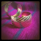 Image of Striped Golden Hoops