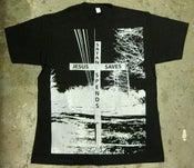 "Image of MJL ""Jesus Saves Satan Spends"" Black T-Shirt"
