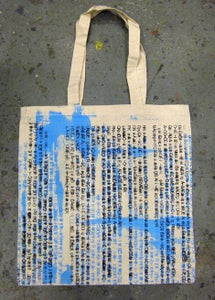 """Image of MJL """"Abstract Light Blue Gibberish"""" Tote Bag, One-Of-A-Kind"""