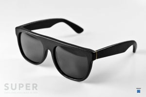 Image of SUPER sunglasses Flat Top Leather Black