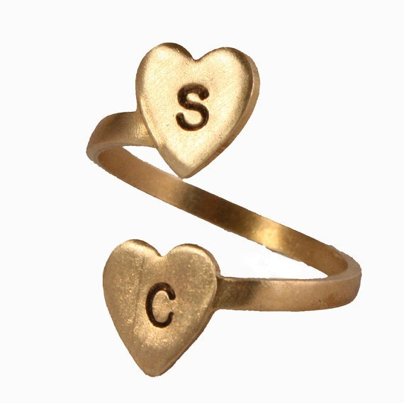 Image of Personalized Double Heart Initial Ring