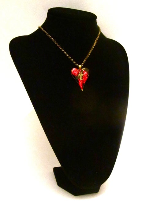 Image of Gothic Heart Red Patch Pendant