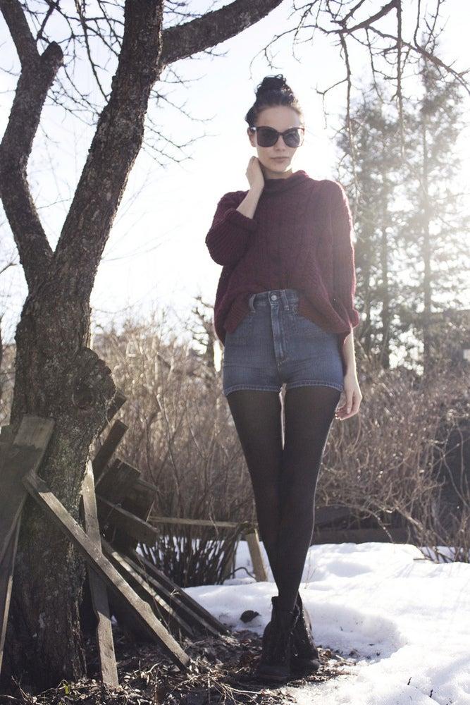 Image of Whyred high waist denim shorts