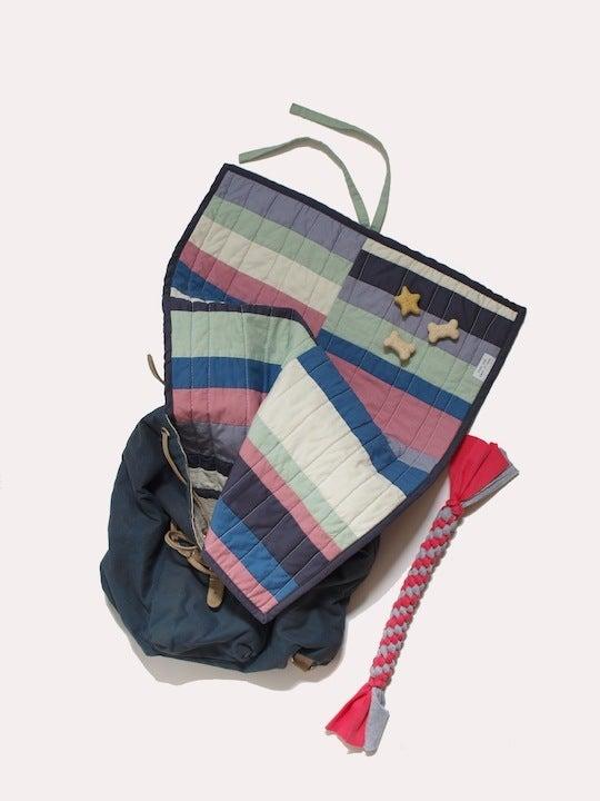 Image of stripe travel dog bed quilt