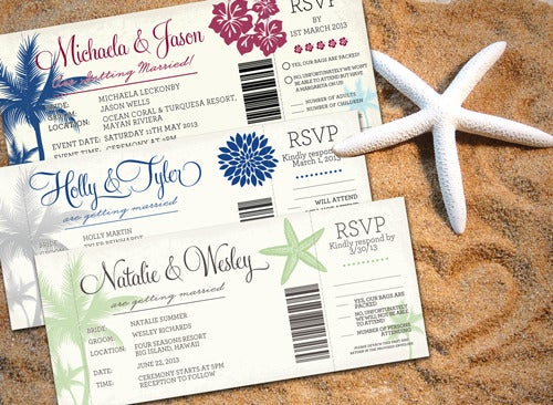 boarding pass wedding invitations with detachable rsvp cards - Boarding Pass Wedding Invitations
