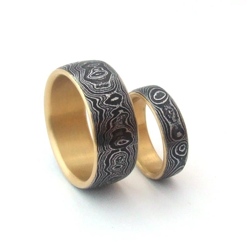 custom damascus wedding set hand forge