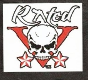 Image of Rated V skull style sticker