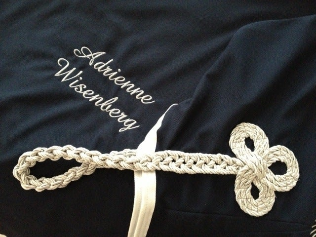Image of Saratoga Diamond Knit Dress Sheet with Custom Embroidery