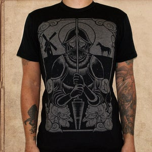 Image of Don Quixote - 50/50 black - discharge ink - unisex only XS