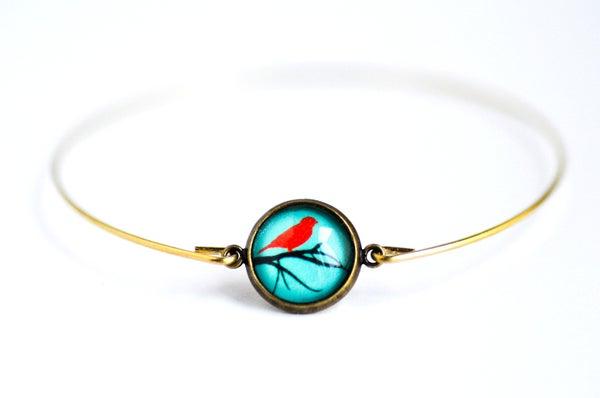 Image of Bracelet fin illustration Oiseau rouge