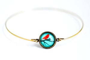 Image of Bracelet fin illustration Oiseau rouge