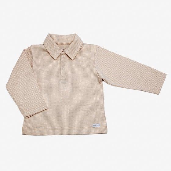 Image of Polo Cuello Camisa Cuadritos Beige
