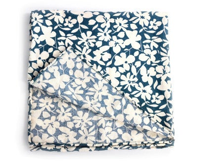 Image of Navy pocket square with white flowers