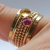 Image of Ruby & Citrine Stackable Birthstones Mothers rings - Personalized Jewelry