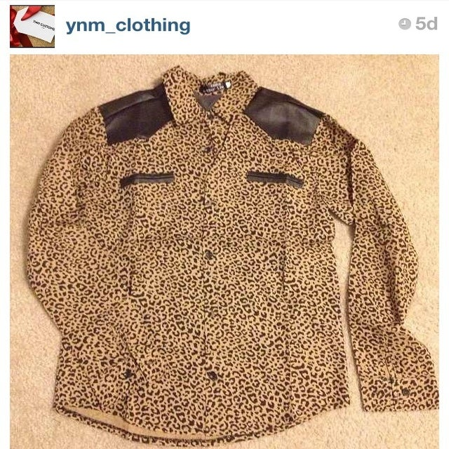 Image of YNM Cheetah Print & Leather long sleeve shirt (unisex)