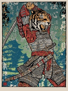 Image of Samurai Tiger Attack Print