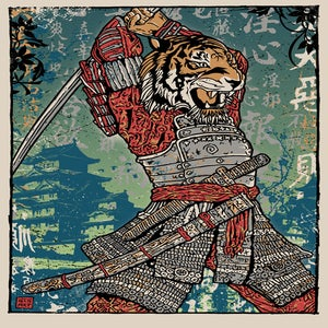 Image of Samurai Tiger Attack Print
