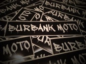 "Image of NEW! Burbank Moto ""Tag"" Decal. WHITE on BLACK. (2) Free Shipping!"