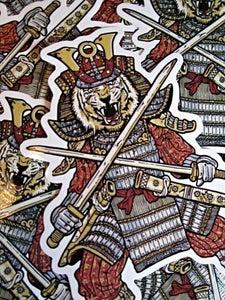 Image of Samurai Tiger Warrior Die Cut Vinyl Sticker