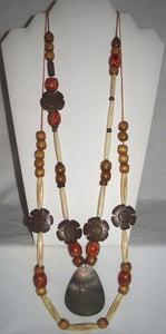 Image of Wood Flower Hand Carved Multi Strand Necklace with Large Shell Pendant