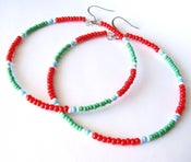 Image of African & Tribal Inspired Large Beaded Hoops - Red, Green, White and Turquoise accents