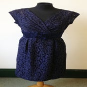 Image of early 1960s navy lace Hardy Amies cocktail/wiggle dress