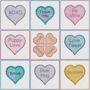 "Image of Candy Hearts 2"", 3"" Hearts Machine Embroidery"