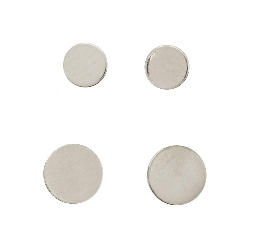 Image of FLAT DISC SILVER stud earrings
