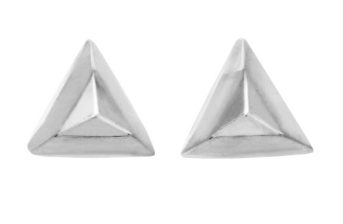 Image of FACETED TRIANGLE stud earrings