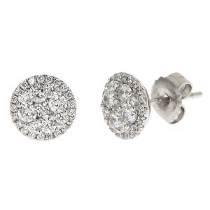 Image of   Kara Ackerman <i> Talulah <i/> Mini Faceted Set Stone Stud Earring in Rhodium