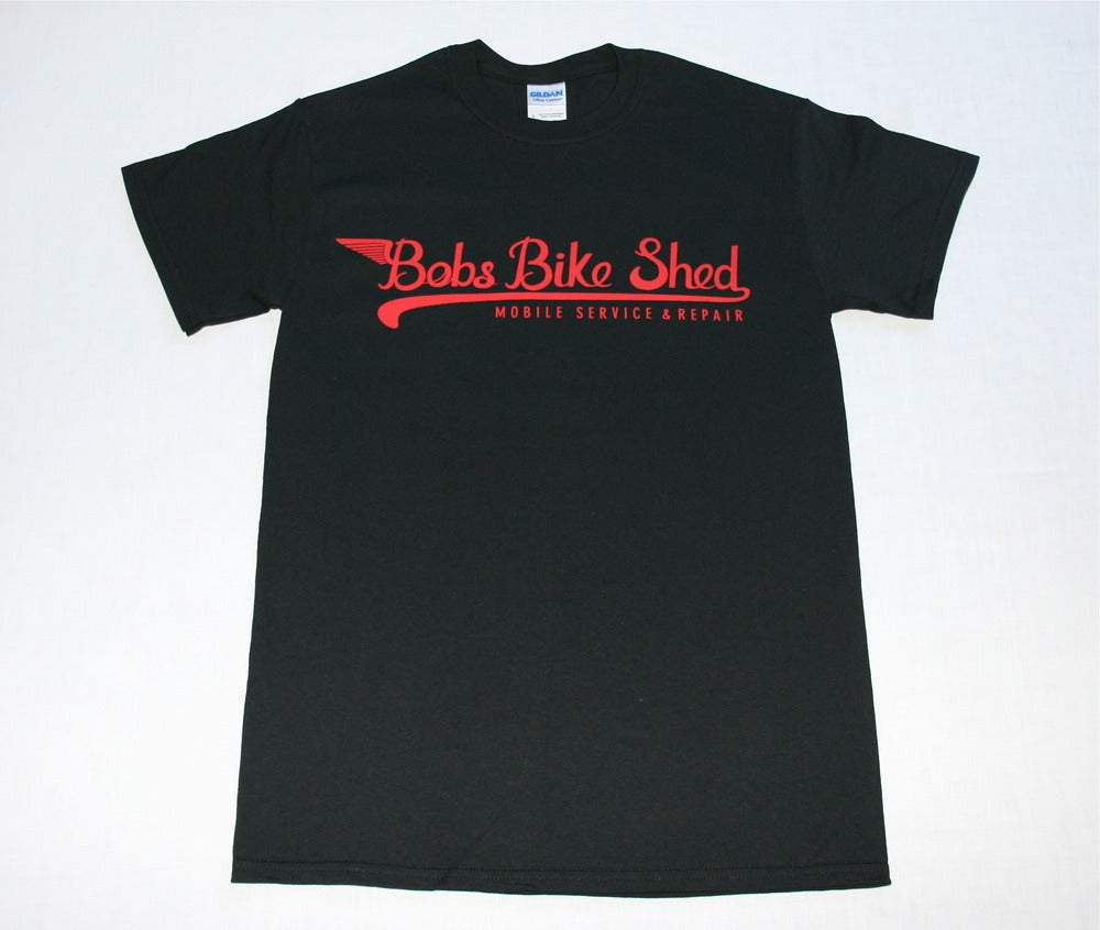 Image of Bobs Bike Shed T shirt in Black