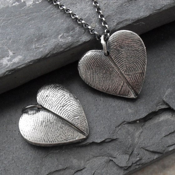 Image of Heart Fingerprint Necklace with Two Prints in Fine Silver (Style#112)