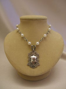Image of Sterling Shield with White Pearls 4KL