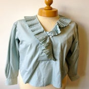 Image of vintage 1980s Kenzo Paris duck egg blue pleated ruffle collar blouse/shirt
