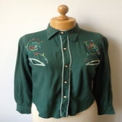 Image of 1970s Miss Mouse western hand-embroidered pearl snap-button cowboy shirt