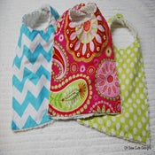 Image of Cute Boutique Style Snap Bib with Chenille Backing