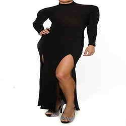 Image of Plus Size Black Double Split Dress