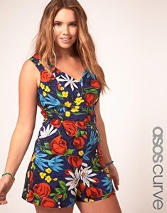 Image of ASOS Plus Size Tropical Print Playsuit