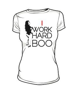 Image of I WORK HARD BOO (WHITE) w