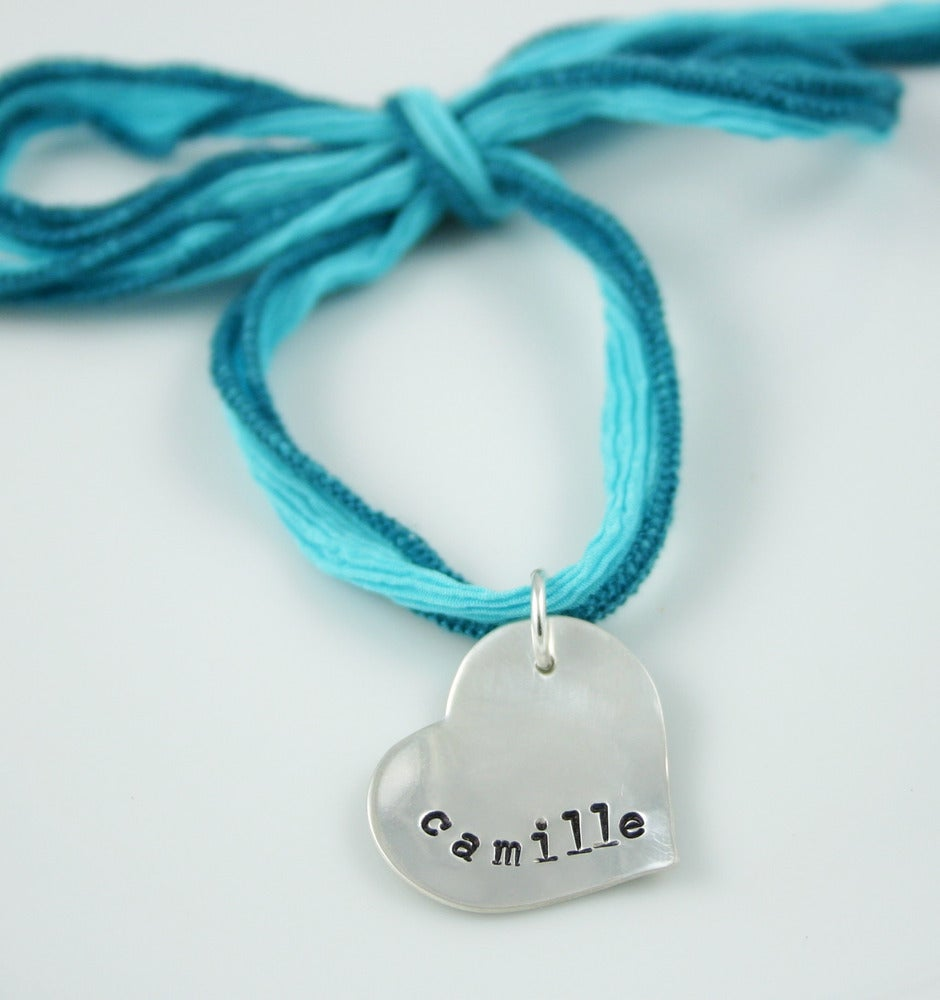Image of Silk Ribbon heart necklace