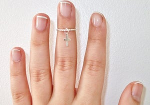 Image of Cross Charm Above Knuckle Ring
