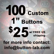 """Image of 100 1"""" Custom Buttons"""